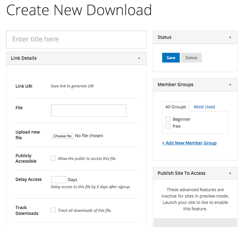 The add new download page in Rainmaker