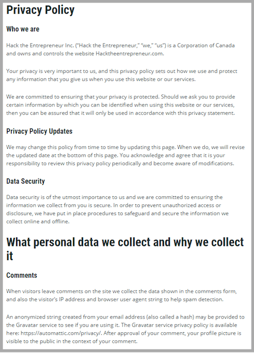 privacy page for a blog