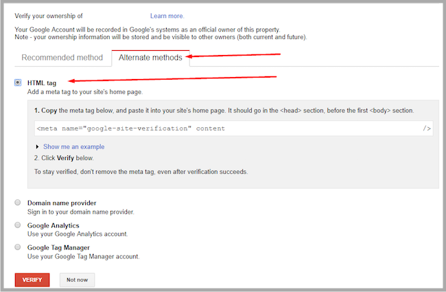 set up blog for google search console