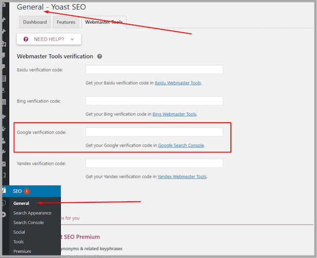 set up search console in yoast