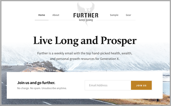 email marketing newsletter signup further