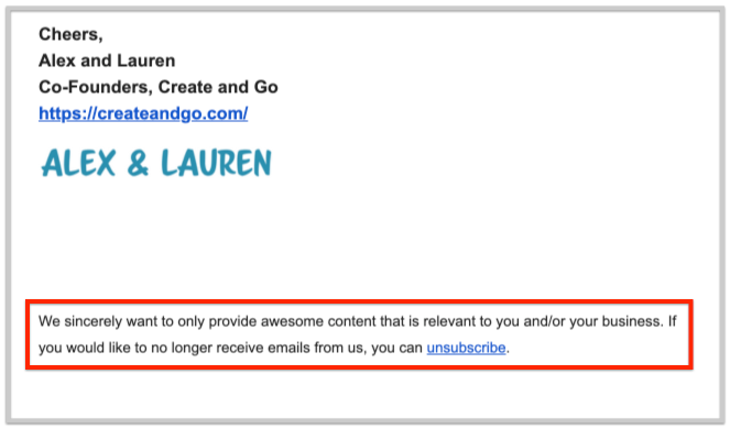 let your email subscribers unsubscribe when they want