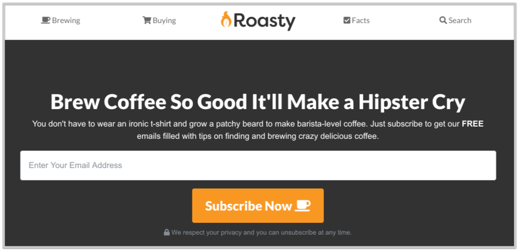 roasty coffee email signup forms