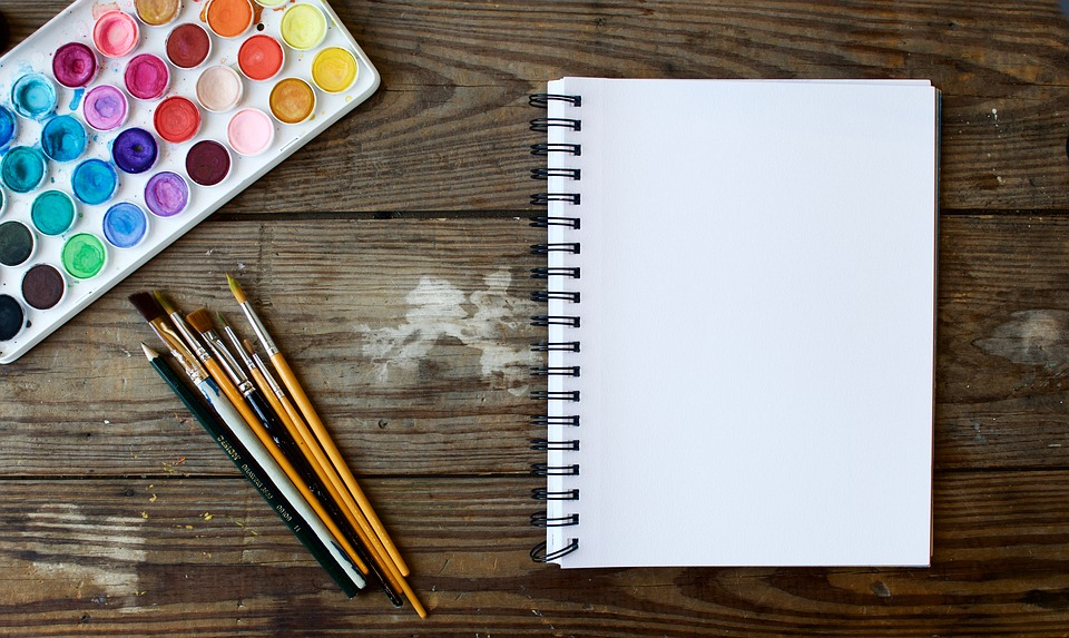 blank page and watercolors