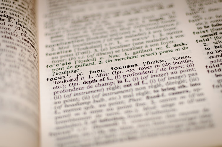 definition of focus on a dictionary page