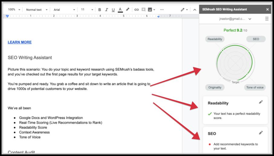 seo writing assistant feature screenshot