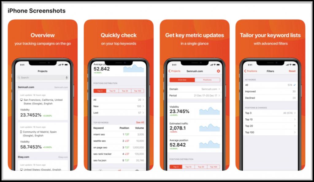 semrush ios app keyword tracking screenshots