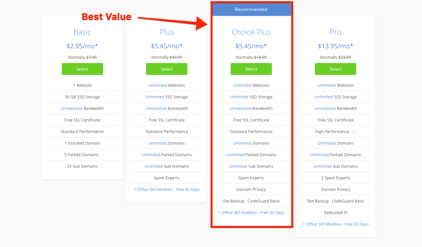Pick your plan - best value