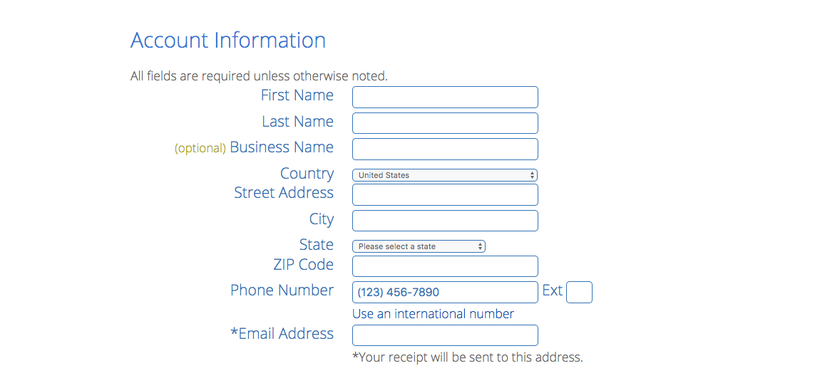 bluehost account information form